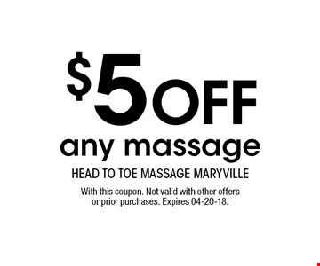 $10 OFF any 60 or 90 minute massage. With this coupon. Not valid with other offers or prior purchases. Expires 04-20-18.
