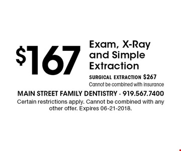 $167Exam, X-Ray and Simple Extractionsurgical extraction $267Cannot be combined with insurance. Certain restrictions apply. Cannot be combined with any other offer. Expires 06-21-2018.