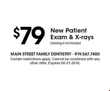 $79New Patient Exam & X-raysCleaning is not included. Certain restrictions apply. Cannot be combined with any other offer. Expires 06-21-2018.