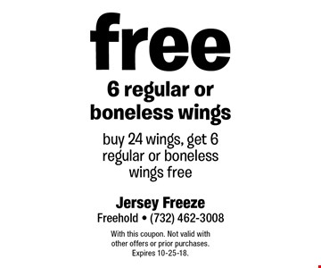 Free 6 regular or boneless wings. Buy 24 wings, get 6 regular or boneless wings free. With this coupon. Not valid with other offers or prior purchases. Expires 10-25-18.
