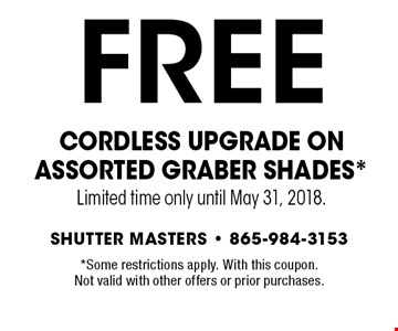 FREE Cordless Upgrade on Assorted Graber Shades*Limited time only until May 31, 2018.. *Some restrictions apply. With this coupon.Not valid with other offers or prior purchases.