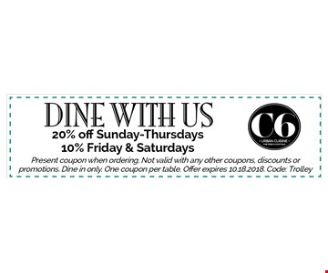 20% off Sunday-Thursdays10% Friday & Saturdays Present coupon when ordering. Not valid with any other coupons, discounts or promotions. Dine in only. One coupon per table. Offer expires 10.18.2018. Code: Trolley