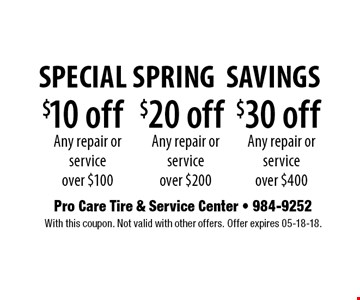$10 off Any repair or service over $100. With this coupon. Not valid with other offers. Offer expires 05-18-18.
