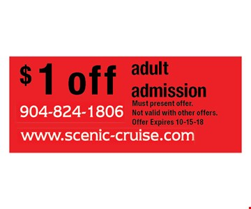 $ 1 off adult admission. Must present offer.Not valid with other offers.Offer Expires 10-15-18