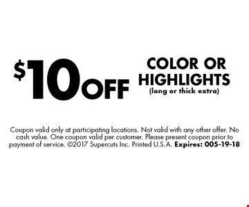 $5 OFFAny Products. Coupon valid only at participating locations. Not valid with any other offer. No cash value. One coupon valid per customer. Please present coupon prior to payment of service. 2017 Supercuts Inc. Printed U.S.A. Expires: 04-21-18