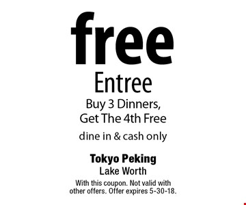 Free Entree. Buy 3 Dinners, Get The 4th Free. Dine in & cash only. With this coupon. Not valid with other offers. Offer expires 5-30-18.