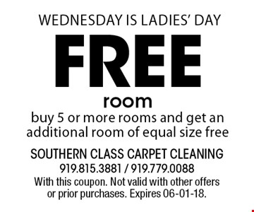 Free room buy 5 or more rooms and get an additional room of equal size free. With this coupon. Not valid with other offers or prior purchases. Expires 06-01-18.