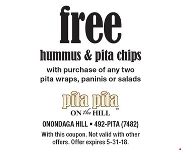 free hummus & pita chips with purchase of any two pita wraps, paninis or salads. With this coupon. Not valid with other offers. Offer expires 5-31-18.