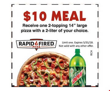 $10 meal. Receive one 2-topping 14 inch large pizza with a 2-liter of your choice.