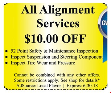 $10 Off All alignment services