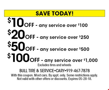 $10 OFF - any service over $100 $20 OFF - any service over $250 $50 OFF - any service over $500 $100 OFF - any service over $1,000Excludes tires and wheels With this coupon. Most cars. By appt. only. Some restrictions apply. Not valid with other offers or discounts. Expires 05-28-18.