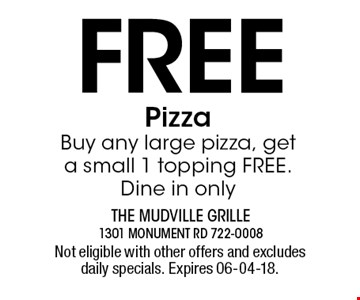 Free PizzaBuy any large pizza, get a small 1 topping FREE. Dine in only. Not eligible with other offers and excludes daily specials. Expires 06-04-18.