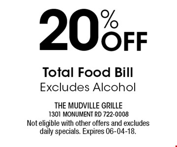20% Off Total Food Bill Excludes Alcohol. Not eligible with other offers and excludes daily specials. Expires 06-04-18.