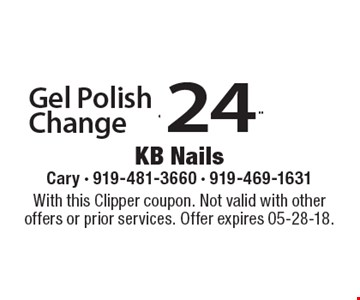 $24.99 Gel Polish Change. With this Clipper coupon. Not valid with other offers or prior services. Offer expires 05-28-18.