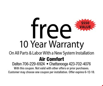 free 10 Year WarrantyOn All Parts & Labor With a New System Installation . Air Comfort Dalton 706-229-6924- Chattanooga 423-702-4076With this coupon. Not valid with other offers or prior purchases. Customer may choose one coupon per installation. Offer expires 6-12-18.