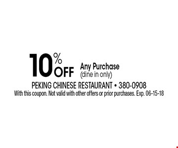 10% Off Any Purchase(dine in only). With this coupon. Not valid with other offers or prior purchases. Exp. 06-15-18