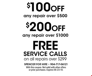 $100 OFF any repair over $500. With this coupon. Not valid with other offers or prior purchases. Expires 06-23-18.