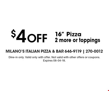 $10 Off Dinner Special$10 off the purchase of two dinner entrees and two drinks. . Dine-in only. Valid only with offer. Not valid with other offers or coupons. Expires 07-05-18.