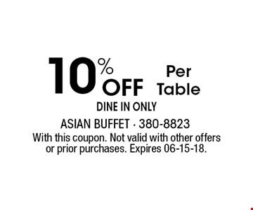 10% Off Per Table dine in only . With this coupon. Not valid with other offers or prior purchases. Expires 06-15-18.