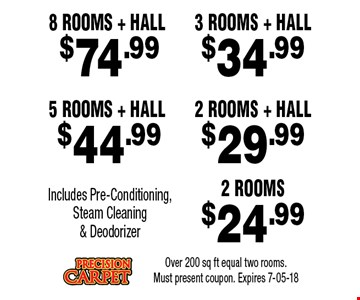 $29.99 2 Rooms + HALL. Over 200 sq ft equal two rooms. Must present coupon. Expires 7-05-18