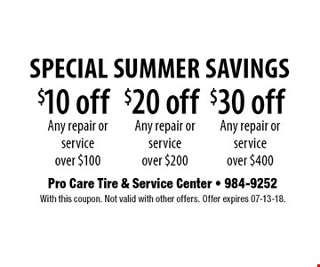 $10 off Any repair or service over $100. With this coupon. Not valid with other offers. Offer expires 07-13-18.