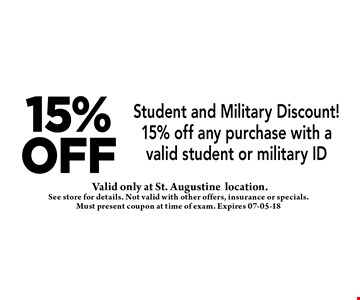 15%off Student and Military Discount! 15% off any purchase with a valid student or military ID. See store for details. Not valid with other offers, insurance or specials. Must present coupon at time of exam. Expires 07-05-18