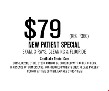 $79 (Reg. $360) NEW PATIENT SPECIALExam, X-Rays, Cleaning & Fluoride. Southlake Dental CareD0150, D0210, D1110, D1208. Cannot be combined with offer offers.