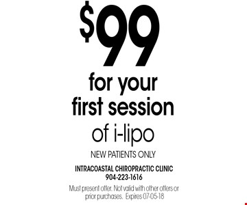 $99 for your first session of i-liponew patients only.