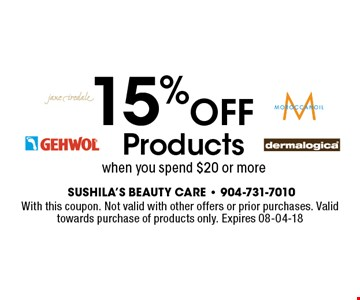 15%OFF Productswhen you spend $20 or more. With this coupon. Not valid with other offers or prior purchases. Valid towards purchase of products only. Expires 08-04-18