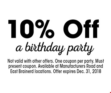 10% Off a birthday party. Not valid with other offers. One coupon per party. Must present coupon. Available at Manufacturers Road and East Brainerd locations. Offer expires Dec. 31, 2018