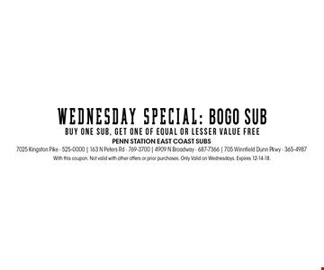 With this coupon. Not valid with other offers or prior purchases. Only Valid on Wednesdays. Expires 12-14-18.