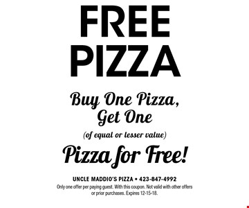FREE PIZZA Only one offer per paying guest. With this coupon. Not valid with other offers or prior purchases. Expires 12-15-18.