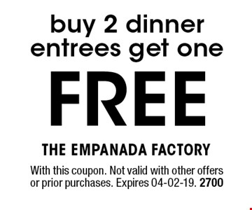 FREE buy 2 dinner entrees get one. With this coupon. Not valid with other offers or prior purchases. Expires 04-02-19. 2700