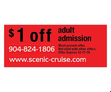 $ 1 off adult admission. Must present offer.Not valid with other offers.Offer Expires 10-17-19