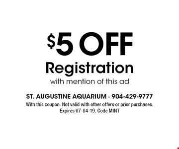 $5 OFF Registrationwith mention of this ad. With this coupon. Not valid with other offers or prior purchases.Expires 07-04-19. Code MINT