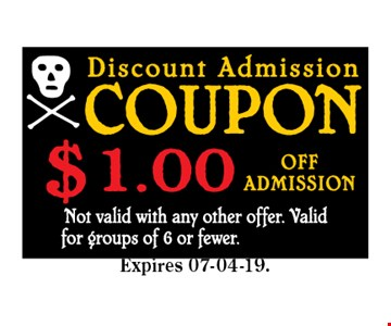 $1 Off Admission. Not valid with any other offer. Valid for groups of 6 or fewer. CODE MINT 07-04-19