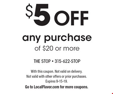 $5 off any purchase of $20 or more. With this coupon. Not valid on delivery. Not valid with other offers or prior purchases. Expires 9-15-19. Go to LocalFlavor.com for more coupons.