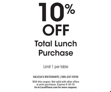 10% off Total Lunch Purchase Limit 1 per table. With this coupon. Not valid with other offers or prior purchases. Expires 8-30-19. Go to LocalFlavor.com for more coupons.