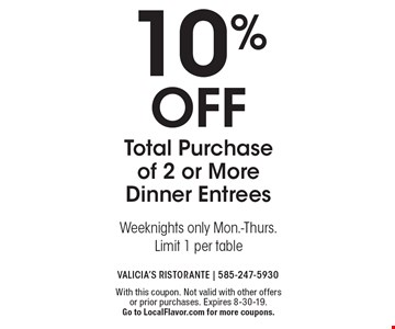 10% off Total Purchase of 2 or More Dinner EntreesWeeknights only Mon.-Thurs. Limit 1 per table . With this coupon. Not valid with other offers or prior purchases. Expires 8-30-19. Go to LocalFlavor.com for more coupons.