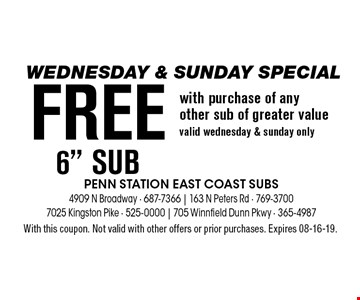Wednesday & Sunday Special - FREe 6