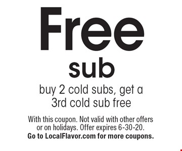 Free sub buy 2 cold subs, get a