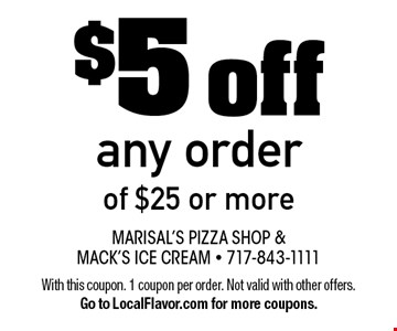 $5 off any order of $25 or more. With this coupon. 1 coupon per order. Not valid with other offers. Go to LocalFlavor.com for more coupons.