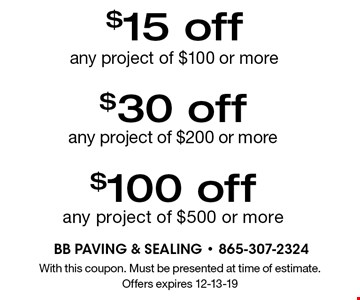 $15 off any project of $100 or more. With this coupon. Must be presented at time of estimate. Offers expires 12-13-19