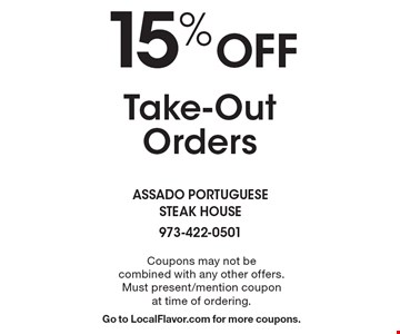 15%Off Take-Out Orders. Coupons may not be combined with any other offers. Must present/mention coupon at time of ordering. Go to LocalFlavor.com for more coupons.
