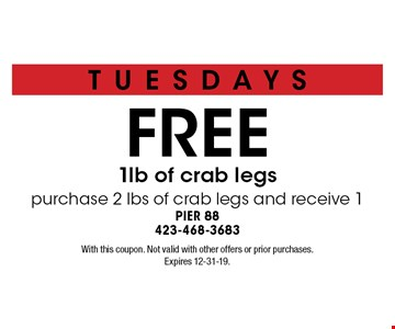 FREE 1lb of crab legs purchase 2 lbs of crab legs and receive 1. With this coupon. Not valid with other offers or prior purchases. Expires 12-31-19.