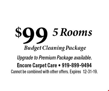 $99 Carpet Cleaning. Upgrade to Premium Package available. Cannot be combined with other offers. Expires 12-31-19.