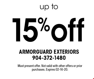 15%off Must present offer. Not valid with other offers or prior purchases. Expires 02-16-20.