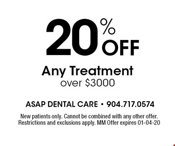 20% OFF Any Treatment over $3000. New patients only. Cannot be combined with any other offer. Restrictions and exclusions apply. MM Offer expires 01-04-20