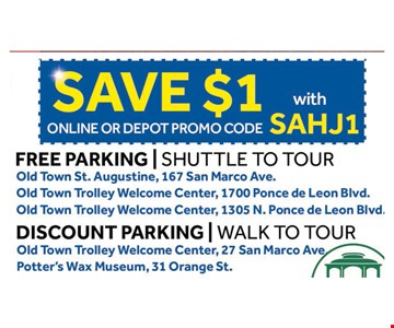 SAVE $1 nights of lights tour online or depot promo code SAHJ1. With this coupon. Not valid with other offers or prior purchases. Expires 01-04-20.