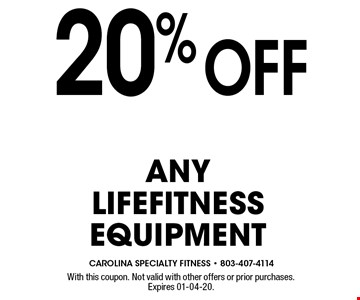 20%Off AnylifefitnessEquipment. With this coupon. Not valid with other offers or prior purchases.Expires 01-04-20.